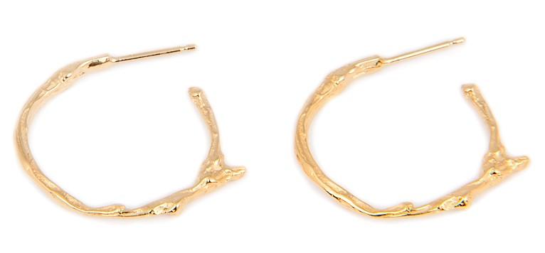 SMALL TWIG HOOP EARRINGS BNE02 - 18ct yellow gold vermeil