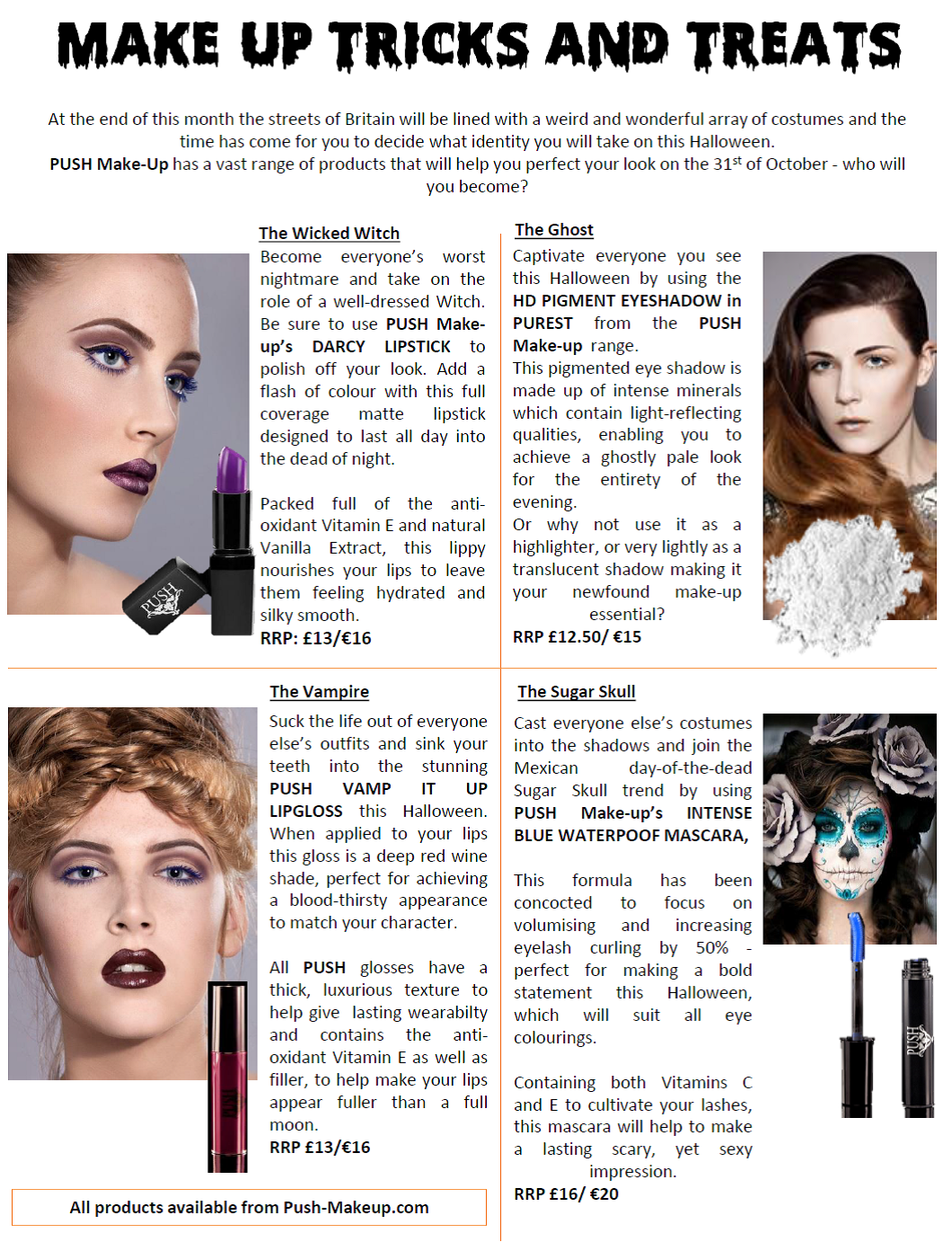halloween make up tips and tricks from push make up freak deluxe