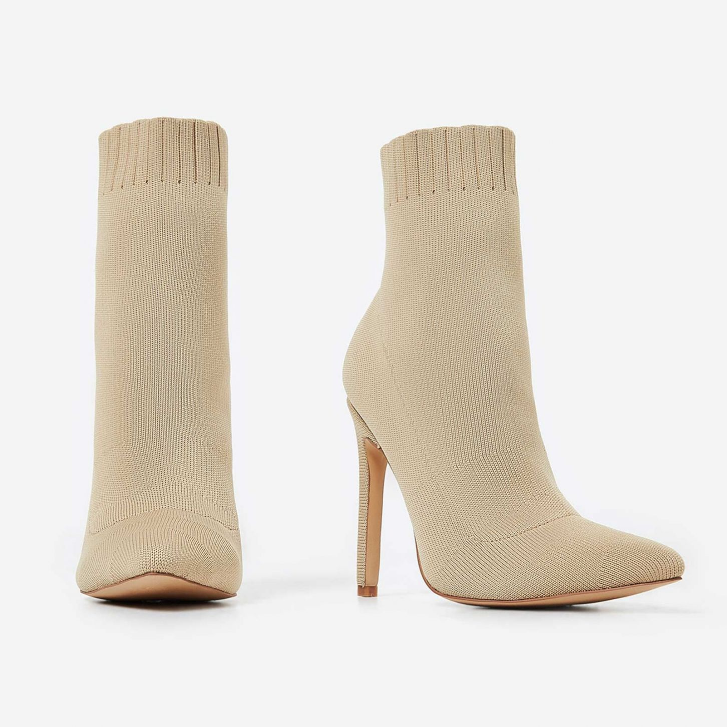 EGO BEIGE KNITTED SOCK BOOTS