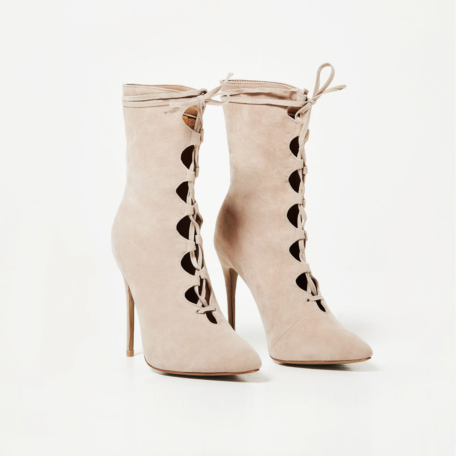 EGO BEIGE LACE UP BOOTS