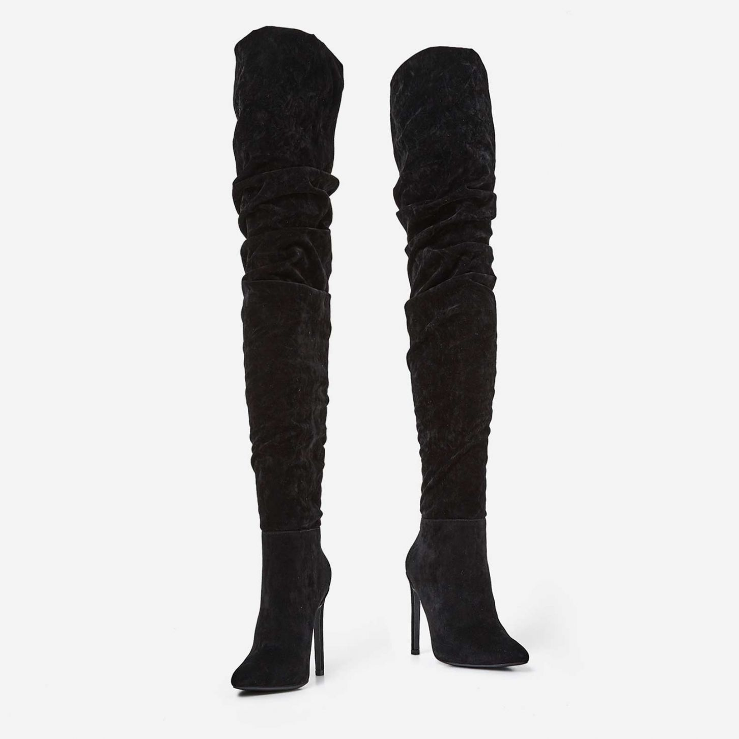 EGO BLACK SLOUCH OVER THE KNEE BOOTS