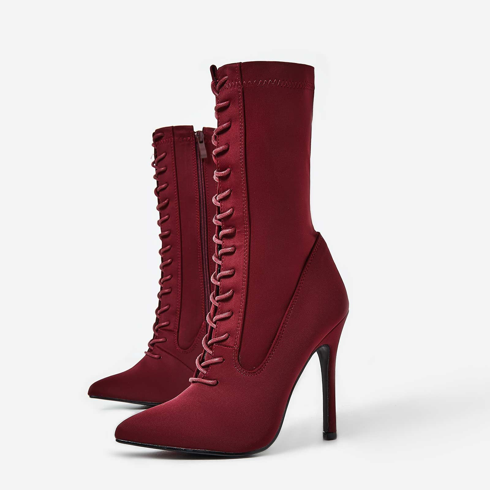 EGO BURGUNDY LACE UP BOOTS