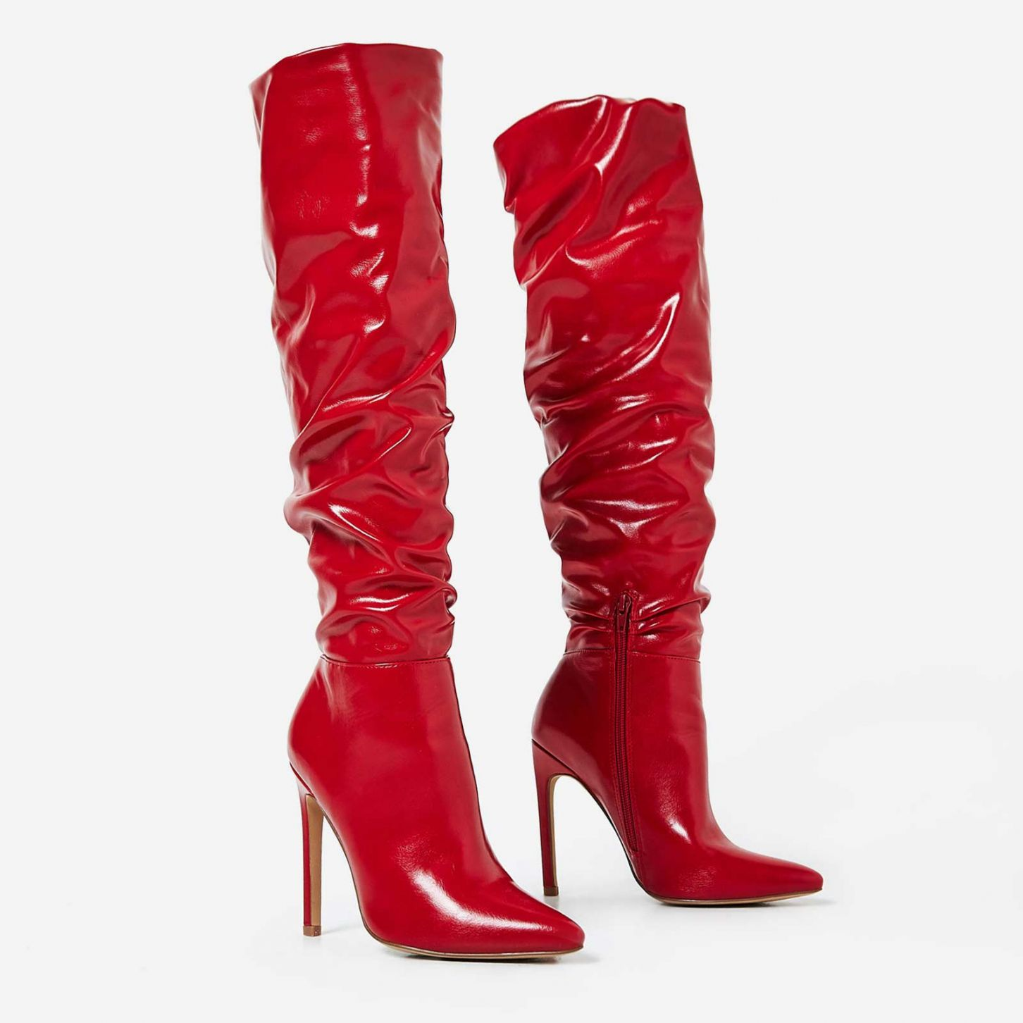 EGO RED SLOUCHED LONG BOOTS