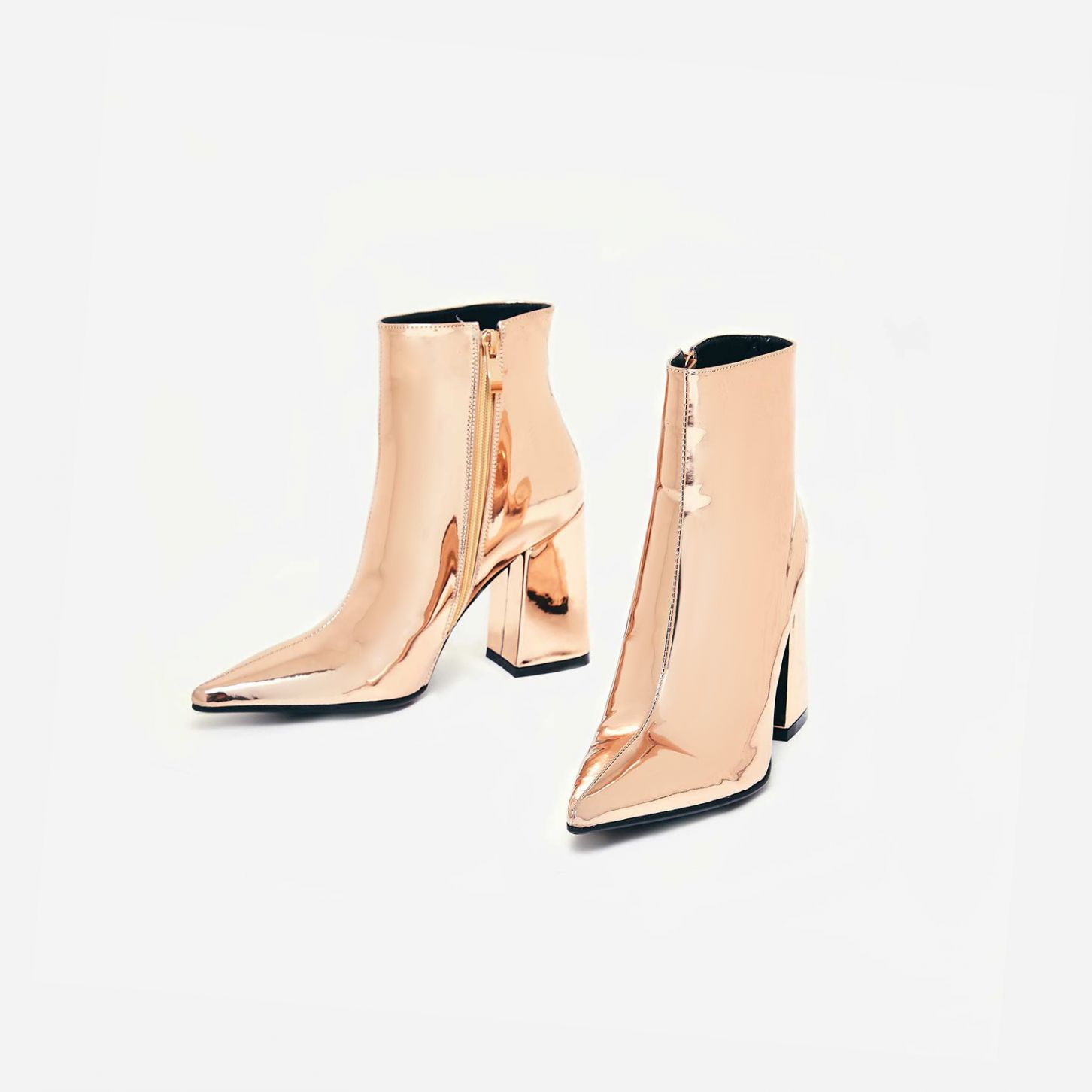 EGO ROSE GOLD BLOCK HEEL ANKLE BOOT